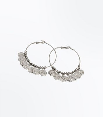 Silver Coin Hoop Earrings