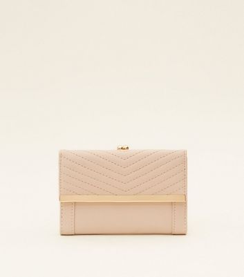 Nude Quilted Clip Top Purse