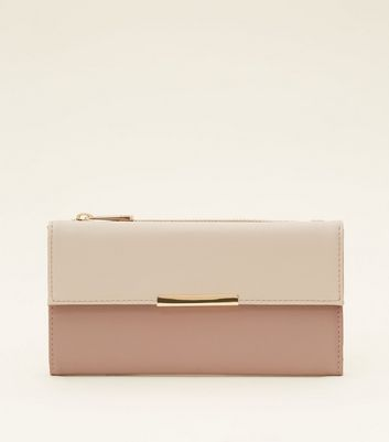 Pale Pink Colour Block Gold Trim Purse by New Look