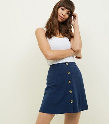 Navy Button Front Mini Skirt