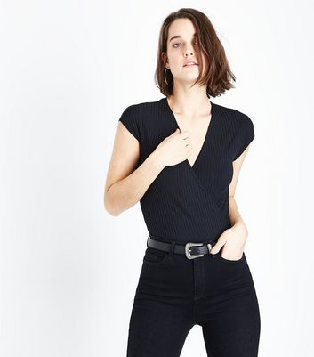 Black Ribbed Wrap Front Bodysuit