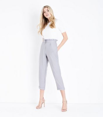 Cameo Rose Grey Cropped Paperbag Trousers