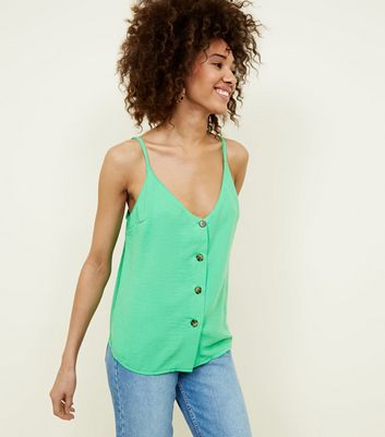 Cameo Rose Green Contrast Button Cami
