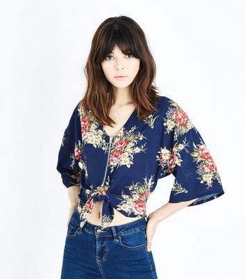 Cameo Rose Blue Floral Zip Tie Front Blouse