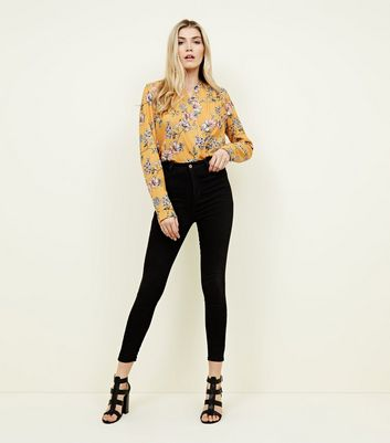 Black 4 Pocket High Rise Super Skinny Dahlia Jeans