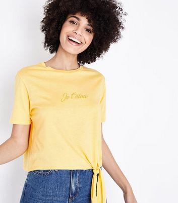Mustard Je T'aime Embroidered Tie Side T-Shirt