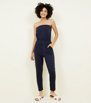 Navy Jersey Bandeau Jumpsuit by New Look