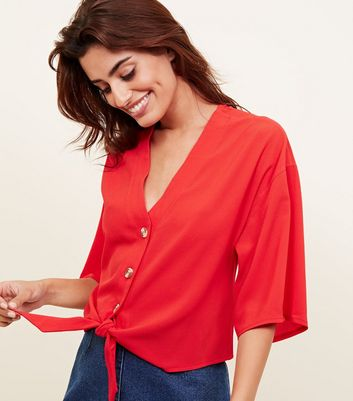 Cameo Rose Red Button Tie Front Blouse