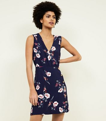 Navy Floral Button Side Wrap Dress