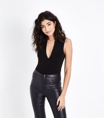 Black Plunge V Neck Bodysuit
