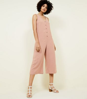 Pale Pink Linen-Look Button Front Cropped Jumpsuit