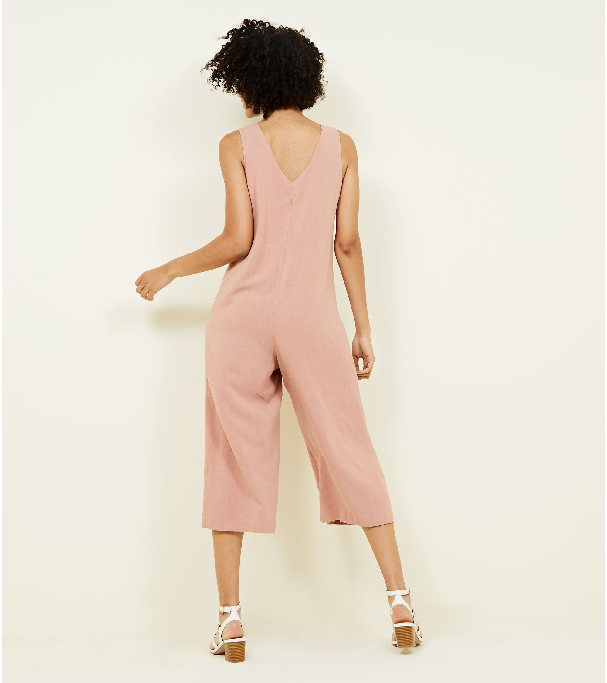 82bb8bcfc1 New Look Pale Pink Linen-Look Button Front Cropped Jumpsuit at £11 ...