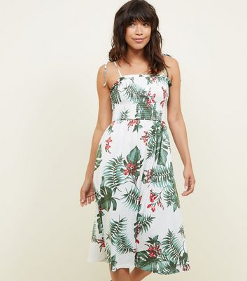 White Floral Print Shirred Midi Dress