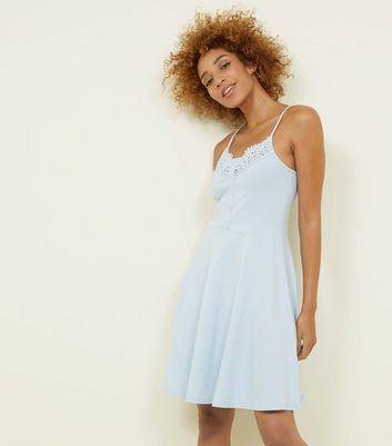 Pale Blue Crochet Trim Button Front Skater Dress