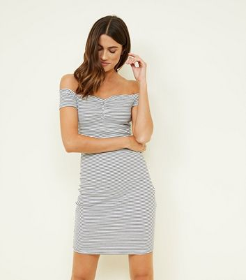 Off White Stripe Ruched Bardot Bodycon Dress