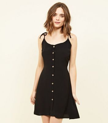 Black Tie Strap Button Through Mini Dress