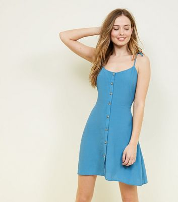 Blue Tie Strap Button Through Mini Dress by New Look