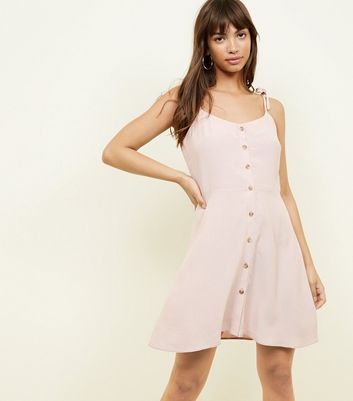 Pink Tie Strap Button Trough Mini Dress by New Look