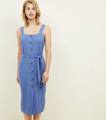 Bright Blue Button Up Belted Linen-Look Midi Dress