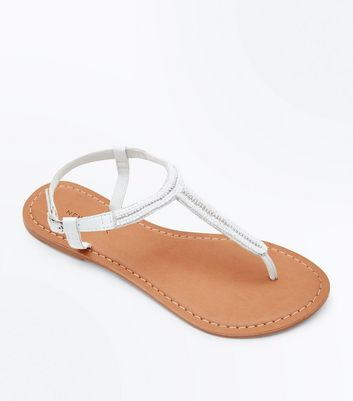 White Leather Beaded Trim Sandals