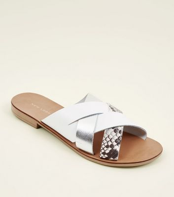 White Leather and Faux Snakeskin Cross Strap Sandals