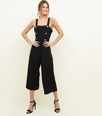Black Double Breasted Button Front Jumpsuit