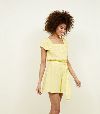 Yellow Floral Square Neck Button Up Playsuit by New Look