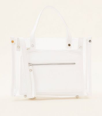 Clear Contrast Double Handle Bag