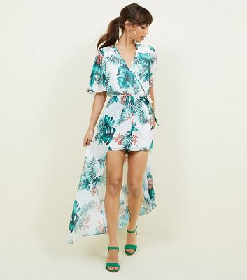 Off White Tropical Tie Back Maxi Playsuit