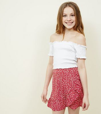 Teens Red Floral Frill Skirt