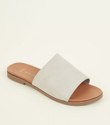 Wide Fit Grey Leather-Look Footbed Mules
