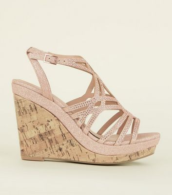 Rose Gold Glitter Strappy Cork Wedges
