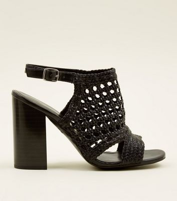 Black Leather-Look Woven Wood Block Heels