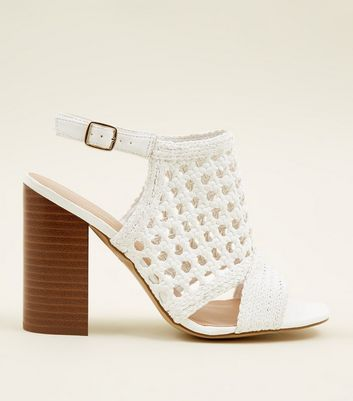 White Leather-Look Woven Wood Block Heels