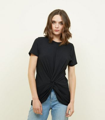Black Ribbed Twist Front T-Shirt