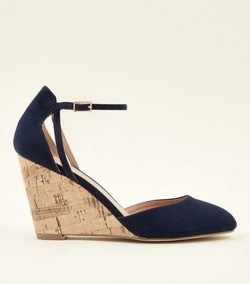 Navy Suedette Ankle Strap Cork Wedges