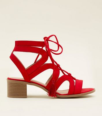 Red Suedette Ghillie Lace Up Heeled Sandals