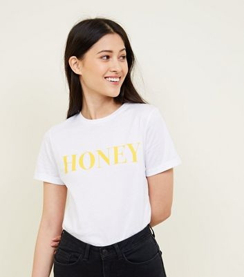 Petite White Honey Slogan T-Shirt
