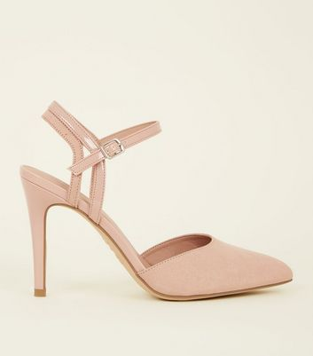 Nude Suedette Contrast Strap Pointed Heels