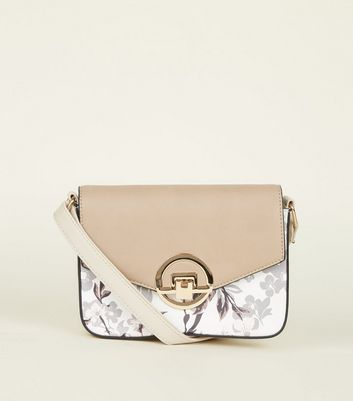 Nude Floral Contrast Cross Body Bag by New Look