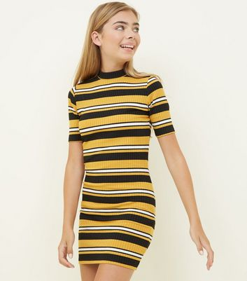 Girls Yellow Stripe High Neck Bodycon Dress