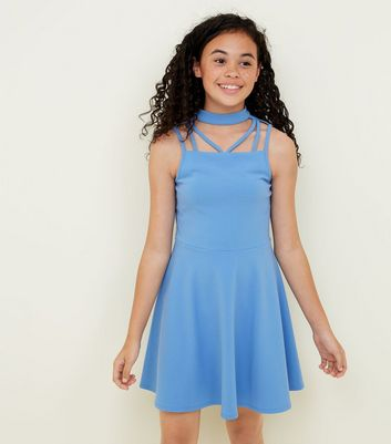 Teens Pale Blue Strappy Scuba Skater Dress