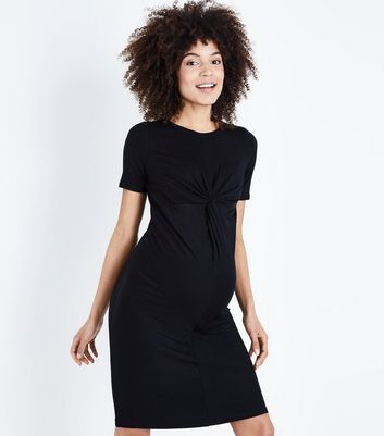 Maternity Black Twist Front Bodycon Dress