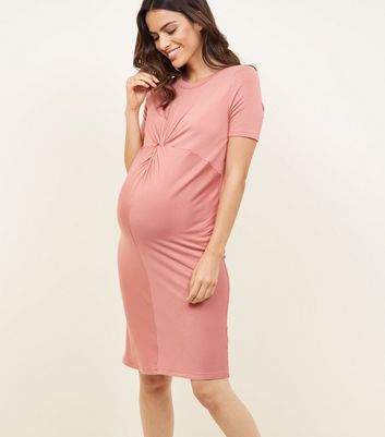 Maternity Coral Twist Front Bodycon Dress
