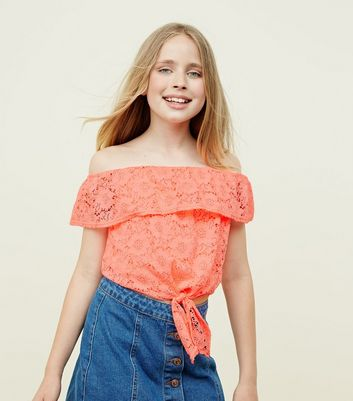 Teens Coral Lace Tie Front Bardot Top