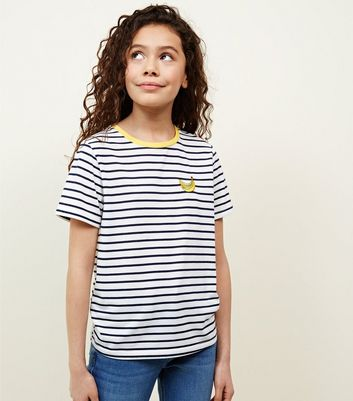 Teens White Stripe Banana T-Shirt