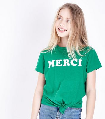 Teens Green Merci Tie Front T-Shirt