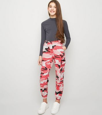 Girls Bright Pink Camo Utility Trousers