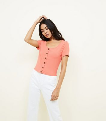 Petite Coral Ribbed Button Front T-Shirt