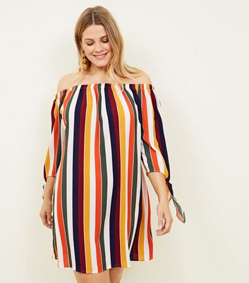 Curves Multi Stripe Tie Sleeve Bardot Dress